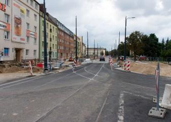 Budowa linii tramwajowej na skrzyżowaniu ulicy Kościuszki i alei Piłsudskiego (20 września 2015)