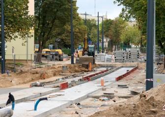 Budowa linii tramwajowej w ulicy Żołnierskiej (20 września 2015)