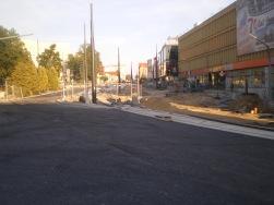 Budowa linii tramwajowej w alei Piłsudskiego (31 sierpnia 2015)