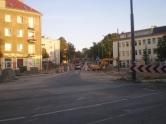 Budowa linii tramwajowej na skrzyżowaniu ulic Kościuszki i Żołnierskiej (31 sierpnia 2015)