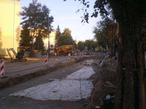 Budowa linii tramwajowej w ulicy Żołnierskiej (31 sierpnia 2015)
