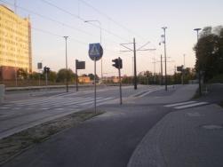 Budowa linii tramwajowej przy ulicy Obiegowej (31 sierpnia 2015) - przystanek Szpital Wojewódzki