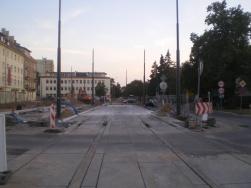Budowa linii tramwajowej w ulicy Kościuszki (31 sierpnia 2015) - przystanek Plac Wakara