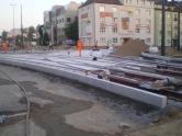 Budowa linii tramwajowej na skrzyżowaniu alei Piłsudskiego i ulicy Kościuszki (31 sierpnia 2015)