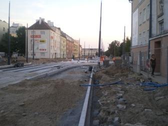 Budowa linii tramwajowej w ulicy Kościuszki (31 sierpnia 2015)