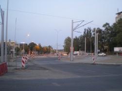 Budowa linii tramwajowej na placu Ofiar Katynia (31 sierpnia 2015)