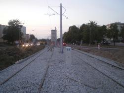 Budowa linii tramwajowej w ulicy Dworcowej (31 sierpnia 2015)