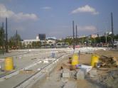 Budowa linii tramwajowej na skrzyżowaniu alei Sikorskiego z ulicami Tuwima i Synów Pułku (1 września 2015)