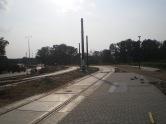 Budowa linii tramwajowej przy ulicy Tuwima (1 września 2015) - przystanek Galeria Warmińska