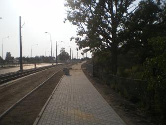 Budowa linii tramwajowej przy ulicy Tuwima (1 września 2015)