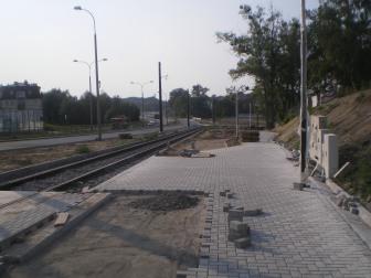 Budowa linii tramwajowej przy ulicy Tuwima (1 września 2015) - przystanek Pozorty