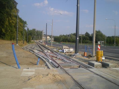 Budowa linii tramwajowej przy ulicy Tuwima (1 września 2015) - mijanka w pobliżu skrzyżowania z ulicą Iwaszkiewicza