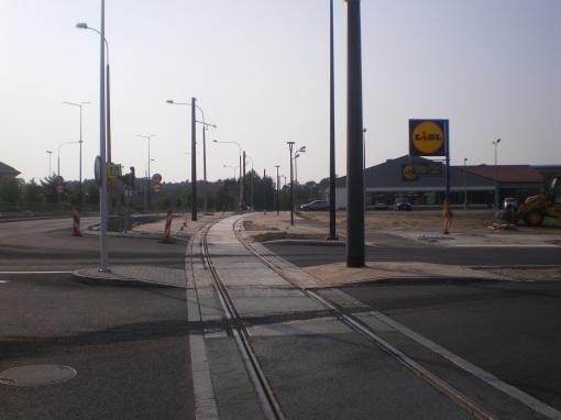 Budowa linii tramwajowej przy ulicy Tuwima (1 września 2015) - skrzyżowanie z ulicą Iwaszkiewicza