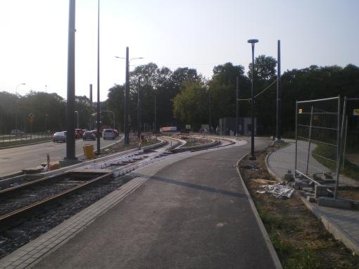 Budowa linii tramwajowej przy ulicy Tuwima (1 września 2015) - przystanek końcowy Uniwersytet-Prawocheńskiego