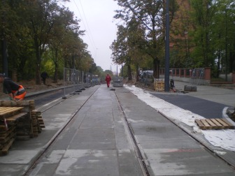 Budowa linii tramwajowej w ulicy Żołnierskiej (16 września 2015)