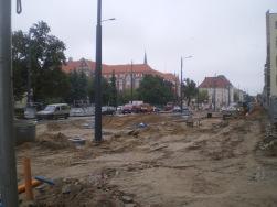 Budowa linii tramwajowej w ulicy Kościuszki (16 września 2015)