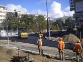 Budowa linii tramwajowej na placu Jana Pawła II (21 września 2015)