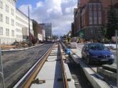 Budowa linii tramwajowej w alei Piłsudskiego (21 września 2015)