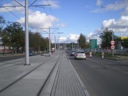 Budowa linii tramwajowej w ulicy Towarowej (21 września 2015)