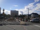 Budowa linii tramwajowej na placu Konstytucji 3 Maja (21 września 2015) - przystanek końcowy Dworzec Główny