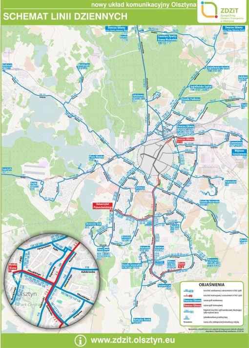 Schemat linii dziennych po starcie tramwajów