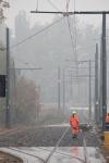 Budowa linii tramwajowej przy ulicy Tuwima (18 października 2015) – mijanka przy skrzyżowaniu z ulicąIwaszkiewicza