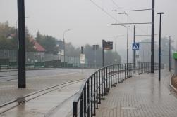 Budowa linii tramwajowej przy ulicy Tuwima (18 października 2015) - przystanek Pozorty