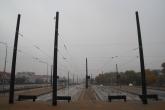 Budowa linii tramwajowej przy ulicy Witosa (18 października 2015) - przystanek końcowy Kanta