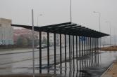 Budowa linii tramwajowej przy ulicy Witosa (18 października 2015) - wiata dla rowerów przy przystanku końcowym Kanta =