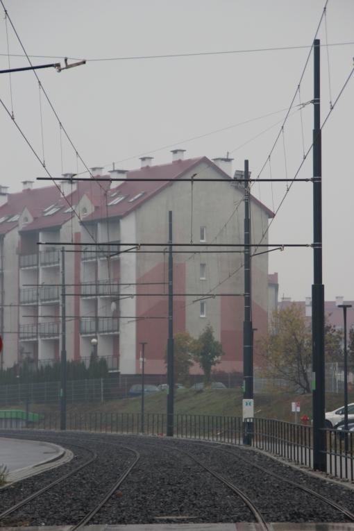 Budowa linii tramwajowej przy ulicy Witosa (18 października 2015)