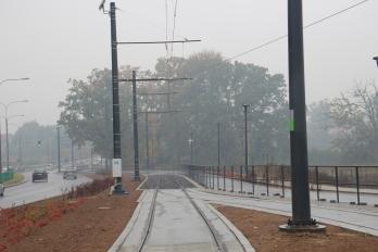 Budowa linii tramwajowej przy ulicy Tuwima (18 października 2015)