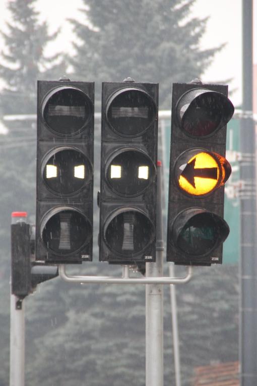 Sygnalizatory tramwajowe na skrzyżowaniu ulicy Kościuszki z aleją Piłsudskiego