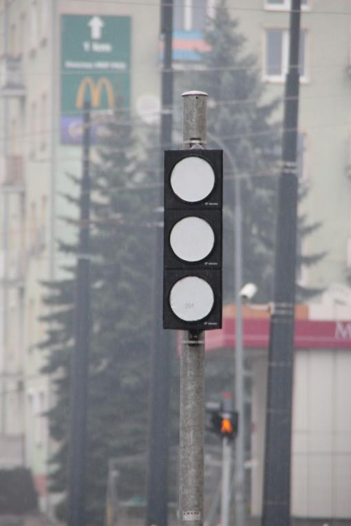 Tramwajowe sygnalizatory rozjazdów na skrzyżowaniu ulicy Kościuszki z aleją Piłsudskiego