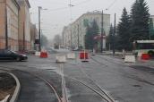 Budowa linii tramwajowej na skrzyżowaniu ulicy Kościuszki z aleją Piłsudskiego (18 października 2015)