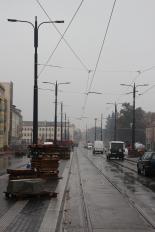 Budowa linii tramwajowej w ulicy Kościuszki (18 października 2015) - przystanek Skwer Wakara