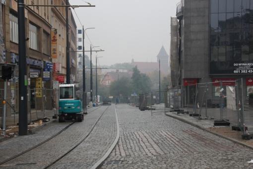 Budowa linii tramwajowej w ulicy 11 Listopada (18 października 2015)
