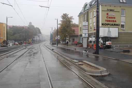 Budowa linii tramwajowej w ulicy Kościuszki (18 października 2015) - przystanek wiedeński Filharmonia