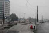 Budowa linii tramwajowej na placu Konstytucji 3 Maja (18 października 2015)