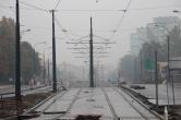 Budowa linii tramwajowej w ulicy Dworcowej (18 października 2015)