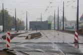 Budowa linii tramwajowej w ulicy Lubelskiej (18 października 2015) - tory odstawcze przy przystanku końcowym Dworzec Główny