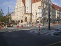 Budowa linii tramwajowej na placu Jana Pawła II (4 października 2015)