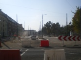 Budowa linii tramwajowej na skrzyżowaniu ulicy Kościuszki i alei Piłsudskiego (4 października 2015)