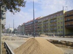 Budowa linii tramwajowej w ulicy Kościuszki (4 października 2015)