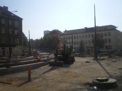 Budowa linii tramwajowej na skrzyżowaniu ulic Kościuszki i Żołnierskiej (4 października 2015)