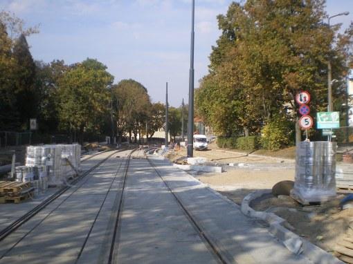 Budowa linii tramwajowej w ulicy Żołnierskiej (4 października 2015)