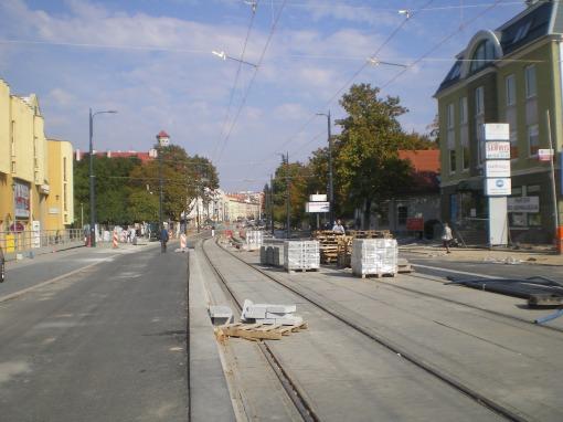 Budowa linii tramwajowej w ulicy Kościuszki (4 października 2015) - przystanek wiedeński Filharmonia