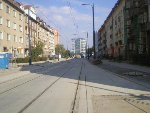 Budowa linii tramwajowej w ulicy Kościuszki (4 października 2015) - przystanek wiedeński Kętrzyńskiego