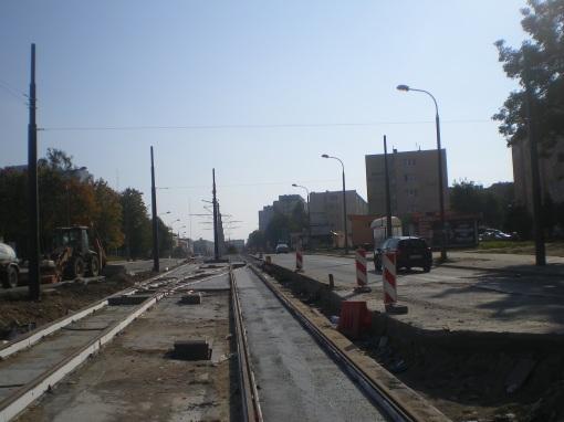 Budowa linii tramwajowej w ulicy Dworcowej (4 października 2015)