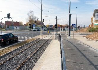 Linia tramwajowa przy ulicy Tuwima (31 października 2015) - skrzyżowanie z ulicą Nowaka