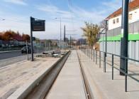 Linia tramwajowa przy ulicy Tuwima (31 października 2015) - przystanek Pozorty